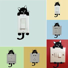 3pcs Cover Wall Art Decal Window Decor Vinyl Switch Knob Stickers Black Cat