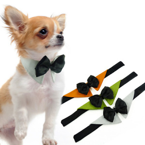 Cute Dog Cat Pet Clothes Shirt Accessory Bowtie Collar Cotton Bow Tie and Black