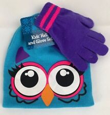 Cute Kid Winter Owl Hat/Bennie And Purple Gloves Combo