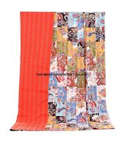 Indian Handmade Quilt Vintage Kantha Bedspread Throw Cotton Blanket Gudari-Queen
