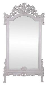 DISPLAY SALE Large Freestanding Mirror Rococo Hand Carved Antique White SRP$1500
