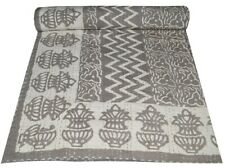 Indian Embroidery Kantha Quilt Bedspread Block Throw Cotton Grey