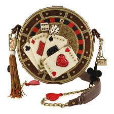 Mary Frances Gamble Cards All In Embellished Round Casino Handbag Vegas Bag New