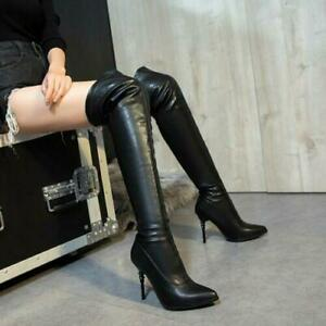 High Heels Over The Knee Thigh Stretchy Boots Pointy Toe Pull on Shoes Women's