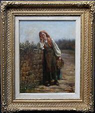 Charles mackellar 1878 Vittoriano genere dipinto ad olio tabourine Ragazza ritratto arte