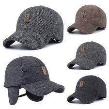 Mens Winter Warm Baseball Casual Cap Felt Earflap Earmuffs Sport Outdoor Hat PT