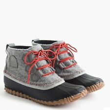 NIB Sorel for J.Crew Out N About  Women Flannel Boots Shoes 6 Grey Authentic