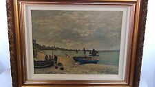 "CLAUDE MONET OLD PRINT ON CANVAS FROM ORIGINAL OIL PAINTING""THE HARBOR SCENE"