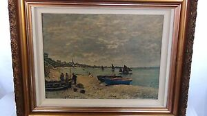 "CLAUDE MONET OLD PRINT ON CANVAS ""THE HARBOR SCENE """