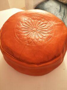 Orange Genuine Leather Moroccan Pouffe New Pouf Poufe Ottoman Handmade