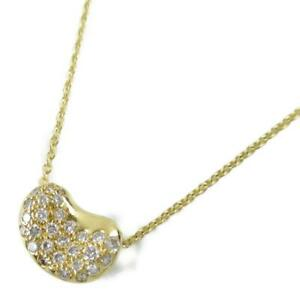 Authentic TIFFANY&CO Beans pave necklace Diamond 18K yellow gold Used