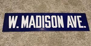 Antique 1920's W. MADISON AVE. Porcelain Enamel Road Street Sign Charleston SC.