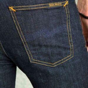 NUDIE Homme Slim Fit Raw Denim Jean Stretch PantalonThin Finn Dry Navy Crystal