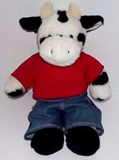 "Build a Bear Cow says MOO with Red T-Shirt & Jeans 18"" Plush"