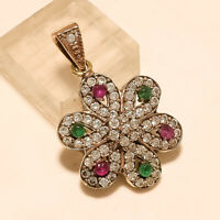 Natural Burmese Ruby Zambian Emerald Pendant 925 Sterling Silver Easter Jewelry