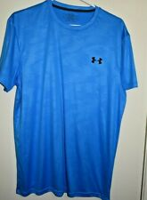 UNDER ARMOUR LOOSE Men's S/S Poly Spandex Shirt Blue Sz LG