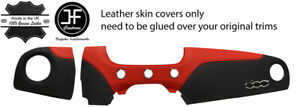 BLACK & RED LEATHER 2 PIECE DASH KIT COVER FITS FIAT 500 ABARTH 07-16 STYLE 2