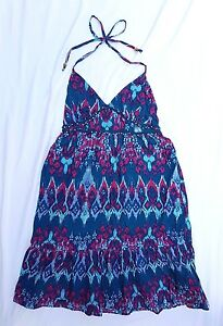 AS NEW Just Jeans Size 12 Dress Boho Beach Casual Blue Print Beaded Gypset Luxe