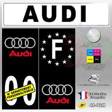Stickers Plaque D'immatriculation Fond Noir Logo Audi 4 pièces 110x45 mm