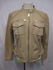 Michael Kors Plus Size 1X Sandshell Leather Moto Jacket MSRP $480 H11