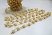 10 Ft AAA Quality Pink Opal Rosary Chain 6mm Hydro Quartz Beads Rondelle Faceted