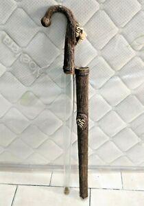 Rare Walking Stick Animal Face handled Cane Hidden Glass Tube Inside Like Sword