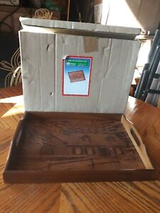 Vintage House of Lloyd Home for The Holiday Etched Carved Wood Winter Cabin Tray