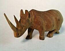 Vintage Hand Carved Africa Rhino Rhinoceros Kenya Wood Wooden