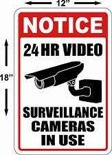 Warning Security Cameras In Use ~ Video Surveillance Signs 24 hour video cctv Lg