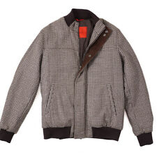 NWT $3295 ISAIA Houndstooth Wool Bomber Jacket with Leather Details L (Eu 52)