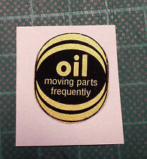 RALEIGH OIL PARTS FREQUENTLY oval decal/sticker TOMAHAWK, BUDGIE, CHOPPER
