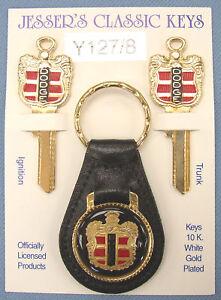 Vintage Rare Dodge Crest Yellow Gold 3 Piece Classic Key Set 1938-48 NOS Keys