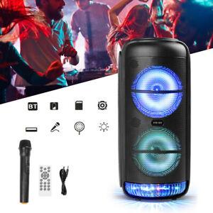 "8"" Bluetooth Lautsprecher Soundbox Akku Fernbedienung DJ licht mit Mikrofon de"