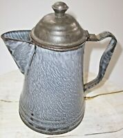 "Vintage Gray Graniteware Enamelware Coffeepot w Hinged Tin Lid 8½"" Tall"
