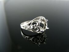 3761 RING SETTING STERLING SILVER, SIZE 7.25, 7X5 MM OVAL FACETED STONE
