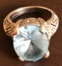 Judith Ripka Sterling Aqua Cocktail Ring Size 7