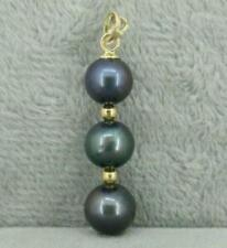 9-10MM BLACK ROUND AAA+ NATURAL TAHITIAN PEARL PENDANT NECKLACE 14K