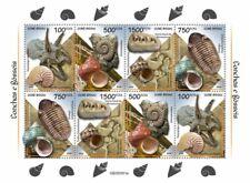 More details for guinea-bissau seashells & fossils stamps 2020 mnh nautilus ammonites 8v m/s