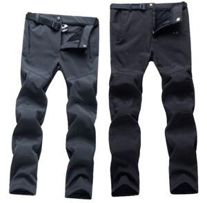 Mens Womens Soft shell Fleece Waterproof Hiking Skiing Trousers Pants with Belt