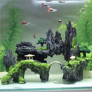 Aquarium Fish Tank Resin Ornament Deco Mountain View Cave Stone Tree Pavilion