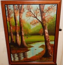 HELEN E.MEYERS RIVER TREE OIL ON CANVAS LANDSCAPE PAINTING DATED 1972