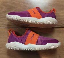 Sz 9 Toddler CROCS Girls Pink & Orange Mesh Pull On Shoes Dual Comfort EUC