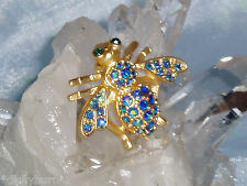 Gorgeous JOAN RIVERS Flat Gold, Blue/Green AB Crystal Bee Pin