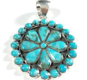 """925 STERLING SILVER LARGE FLOWER CLUSTER TURQUOISE 1 3/4"""" x 1 1/4"""" PENDANT"""