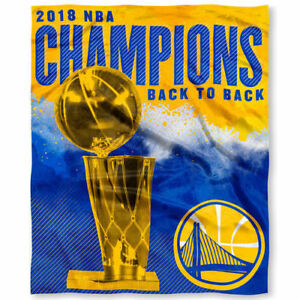 Golden State Warriors 50x60 Silk Touch Throw Blanket NBA Back to Back Champions