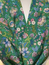 100% Silk Scarf ~ Created w Liberty Of London Crepe ~ Green Pink Floral Paisley