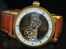 Men's Graf Von Monte Wahro Mechanical Silver Skeleton Dial Brown Leather Watch