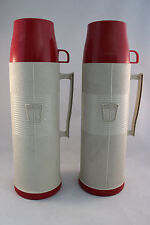 Vintage Thermos Vacuum Bottle No. 2402 Quart Red Cream 32 ounces Pair Two 2