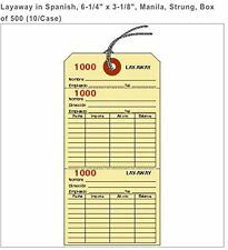 """LAYAWAY TAGS IN SPANISH, 6-1/4"""" X 3-1/8"""", MANILLA, STRUNG, BOX OF 500 LY2001MN-S"""
