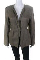 Eileen Fisher Womens Tweed Long Sleeve Single Breasted Blazer Brown Size S